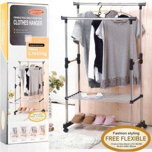 Decopatent® Verrijdbaar Dubbel Kledingrek op wieltjes - Legplank - Hoogte verstelbaar 92 -> 162 Cm - Metaal Garderoberek 2 Laags