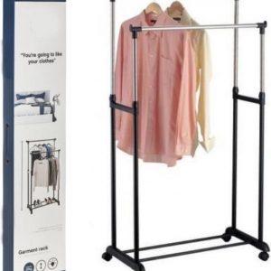 Decopatent® Verrijdbaar Dubbel Kledingrek op wieltjes - 2 Laags - Hoogte verstelbaar 100 >- 170 Cm - Metaal garderoberek op wielen