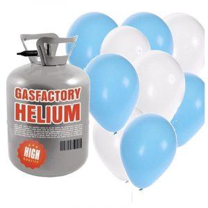 Helium tank met jongen geboren 50 ballonnen