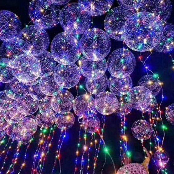 Lampion-Lampionnen LED Ballon XL verlichte ballon 40 cm - 10 stuks - met Helium tank