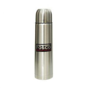 RVS thermosfles/isoleerkan 1 liter zilver